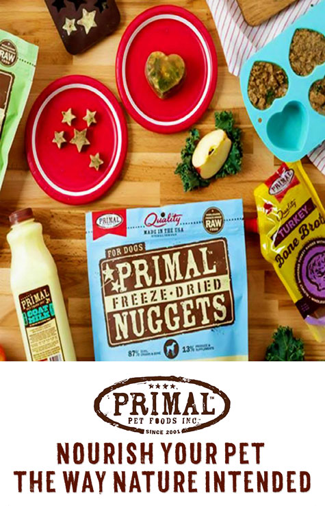 Primal pet food, Nourish your pet with complete, balanced, biologically appropriate raw food.