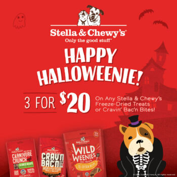 Buy 3 Carnivore, Wild Weenies, Crav'n Bac'n ( You can mix and match) Treats for $20